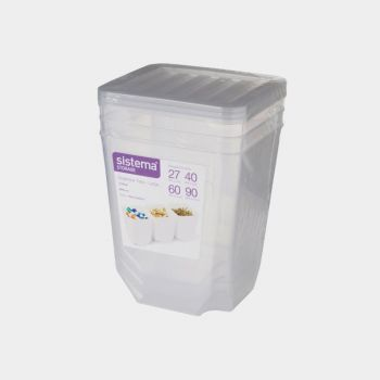 Sistema Storage set of 3 organiser bins with clear lid 1.8L (per 6pcs)