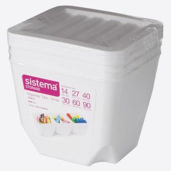 Sistema Storage set of 3 organiser bins with white lid 1.3L (per 6pcs)