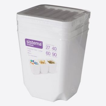 Sistema Storage set of 3 organiser bins with white lid 1.8L (per 6pcs)