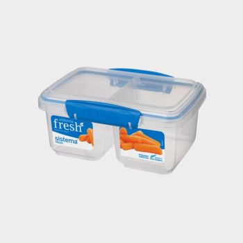 Sistema Fresh storage box with 2 compartments Split blue 850ml (per 6pcs)