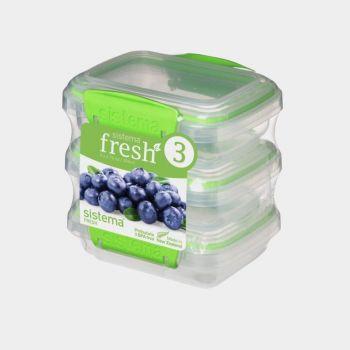 Sistema Fresh 3-pack storage boxes green 200ml (per 4pcs)