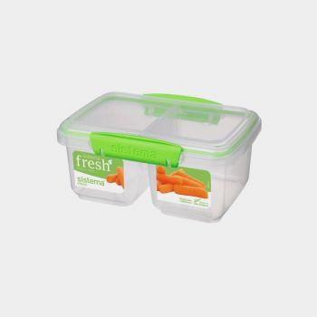 Sistema Fresh storage box with 2 compartments Split green 850ml (per 6pcs)