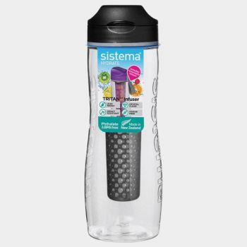 Sistema Hydrate infuser bottle Tritan Infuser black 800ml (per 6pcs)