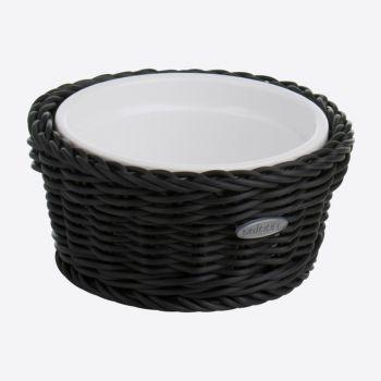 Saleen round woven plastic basket with porcelain dish black Ø 13cm