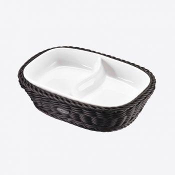 Saleen rectangular woven plastic basket with dish black 22.5x16.5cm