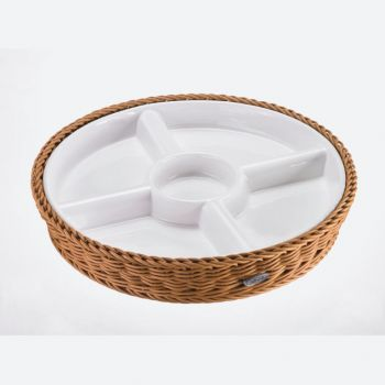 Saleen round woven plastic basket with porcelain dish beige Ø 28.5cm