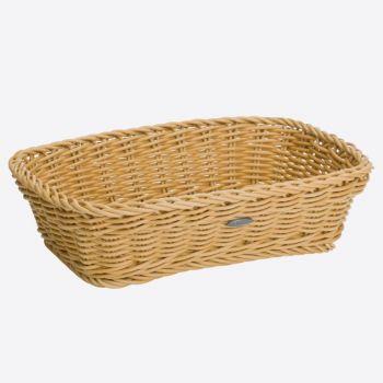Saleen rectangular woven plastic basket beige 31x21x9cm