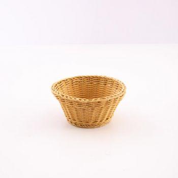 Saleen round woven plastic basket beige Ø 18cm H 10cm
