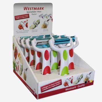 Westmark Trio peeler - julienne; ribbed; smooth white red; green or purple