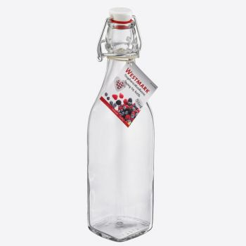 Westmark square glass clip top bottle 500ml