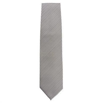 Uniform Works stropdas zilver en zwart gestreept