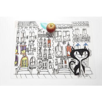 Modern Twist Kids Placemat Mark-Mat Cat in the City Mat + 4 Markers 40 x 32 cm.