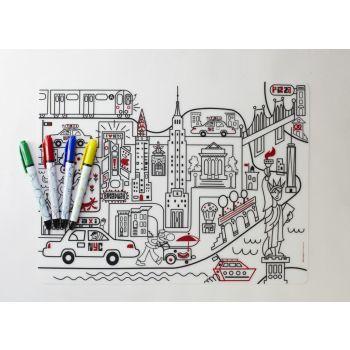 Modern Twist Kids Placemat Mark-Mat New York Mat + 4 Markers 40 x 32 cm.