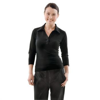 Uniform Works dames T-shirt met V-hals zwart S