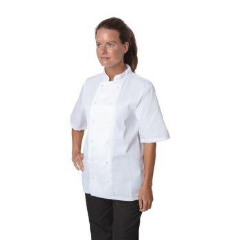 Whites Boston unisex koksbuis korte mouw wit XL