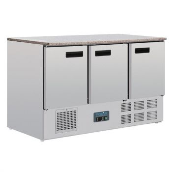 Polar G-serie koelwerkbank met marmeren werkblad 368L