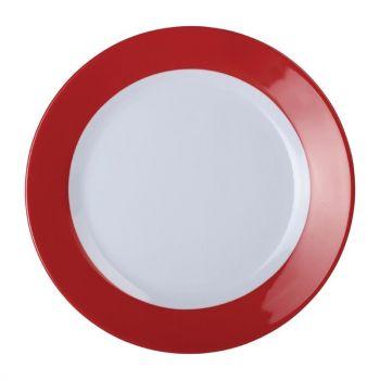 Kristallon Gala melamine borden met rode rand 19.5cm