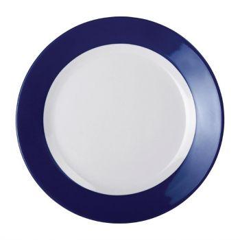 Kristallon Gala melamine borden met blauwe rand 26cm
