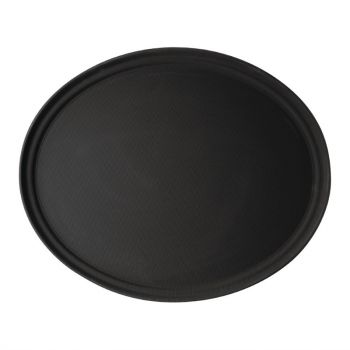Cambro Camtread ovaal antislip glasvezel dienblad zwart 68.5x56cm