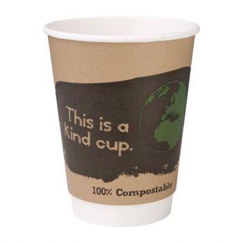 Pak van 500 Fiesta Green composteerbare dubbelwandige koffiebekers 35.5cl