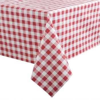 PVC tafelkleed rood/wit 135x135cm
