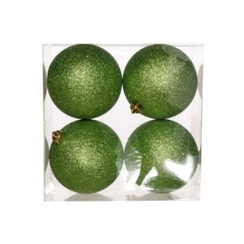Cosy @ Home Ball Plastik Glitter Set4 Grun D10xh10cm