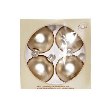 Cosy @ Home Weihn.kugel Glas Set4 Silk Weiss Matd8cm