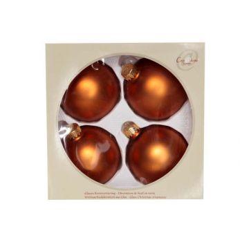 Cosy @ Home Weihn.kugel Glas Set4 Cognac Mat D8cm