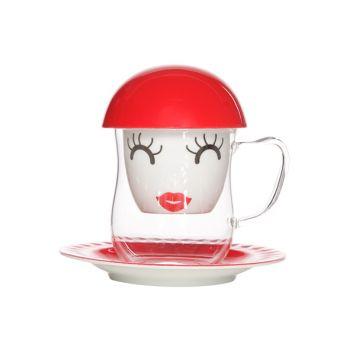 Cosy & Trendy Tea Set 4 Pcs Mrs. Red D15xh14.5cm