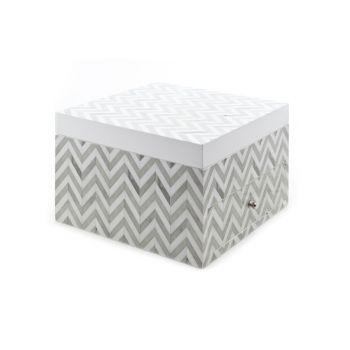 Cosy @ Home Jewelbox Zigzag Grau Weiss 20x21x13cm