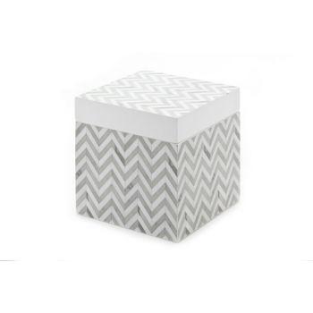 Cosy @ Home Box Zigzag Grau-weiss 10x10x10cm