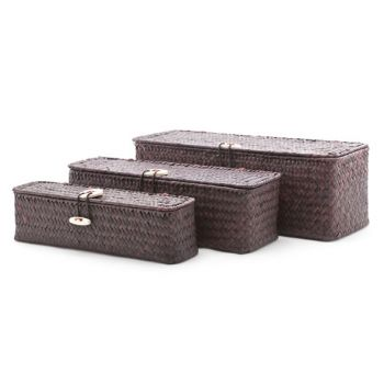 Cosy & Trendy Set3 Seagrass Basket Rect. Brown