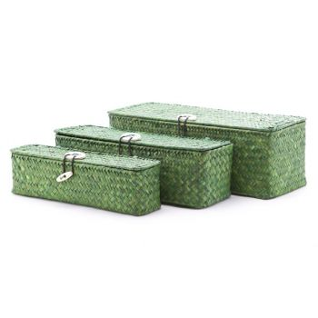 Cosy & Trendy Set3 Seagrass Basket Rect. Green