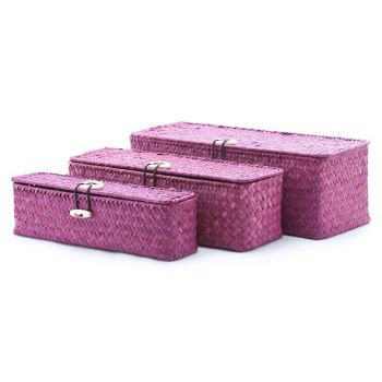Cosy & Trendy Set3 Seagrass Basket Rect. Burgundy