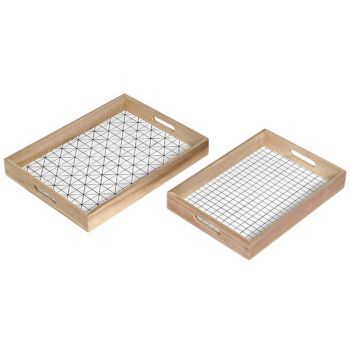 Cosy @ Home Tray Set 2 Wood Natural White 40x30x5cm