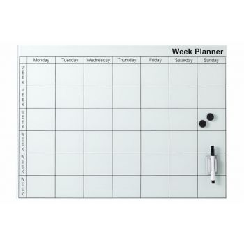 Cosy @ Home Memo Board Weiss Glas 45x61cm Week Plann