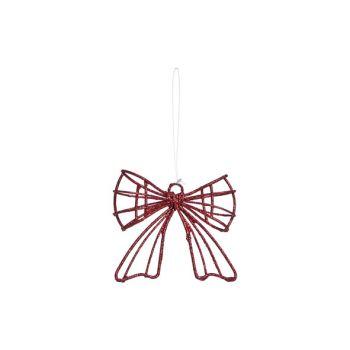 Cosy @ Home Hanger Schleife Rot Glitzer 9x3x8cm