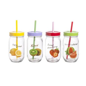 Cosy & Trendy Jar D8xh14cm-50cl With Straw 4 Types