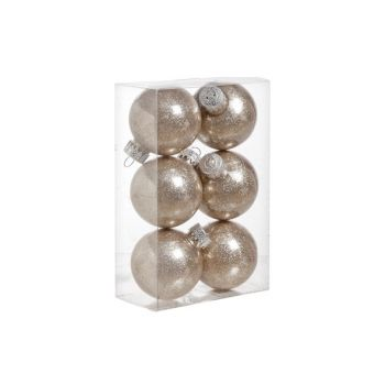 Cosy @ Home Ball Plastik Glitzer Set6 Champagne D6cm
