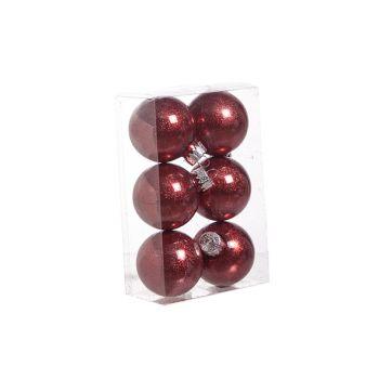 Cosy @ Home Ball Plastik Glitzer Set6 Rot D6cm
