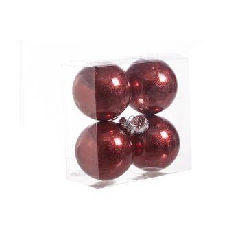 Cosy @ Home Ball Plastik Glitzer Set4 Rot D8cm