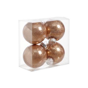 Cosy @ Home Ball Plastik Glitzer Set4 Kupfer D8cm