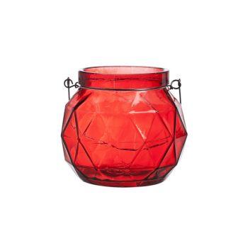 Cosy @ Home Lanterne Geometr Glas Rot 12x12x10.5cm