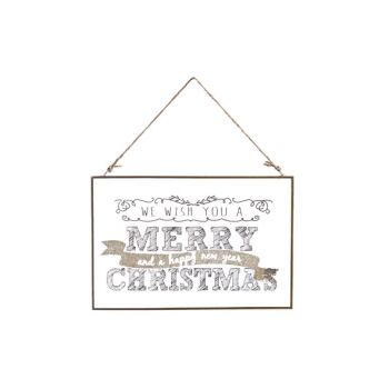 Cosy @ Home Plaque Glas Merry Christmas 30x0.5x20cm