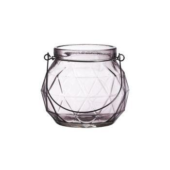 Cosy @ Home Lanterne Geometr Glas Mauve 12x12x10.5cm