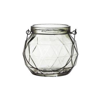 Cosy @ Home Lanterne Geometr Glas Grau 12x12x10.5cm