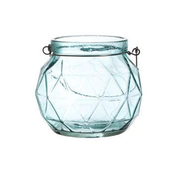 Cosy @ Home Lanterne Geometr Glas Aqua 12x12x10.5cm