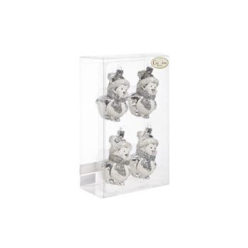 Cosy @ Home Pinguin Set4 Silber-weiss 6x6xh9cm