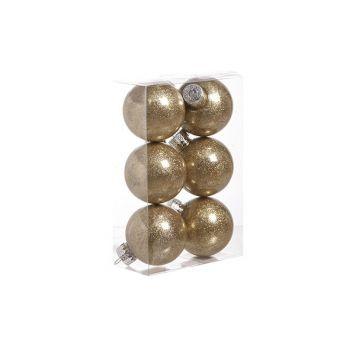 Cosy @ Home Ball Plastik Glitzer Set6 Gold D6cm
