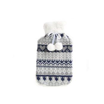 Cosy & Trendy Hot Water Bottle 2l Cov. Blue-grey 20x34
